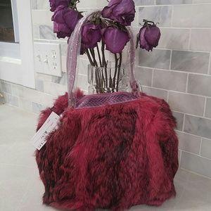 Pink maroon rabbit fur purse